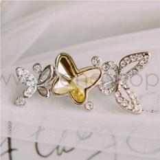 Брошь «Бабочка лимонница» с желтым кристаллом Сваровски