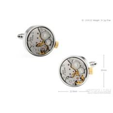 Запонки «Часовой механизм» в именной коробке с гравировкой