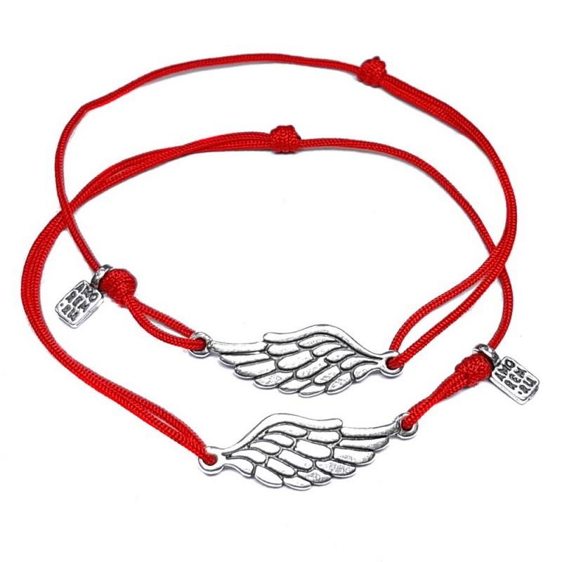 Парные браслеты на красной нити Amorem Крылья