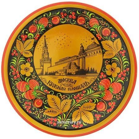 Тарелка-панно с росписью хохлома Москва.Красная площадь