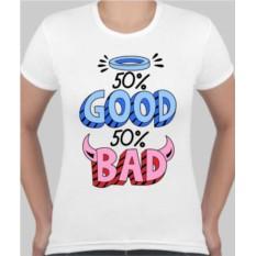 Женская футболка 50% Good 50% Bad