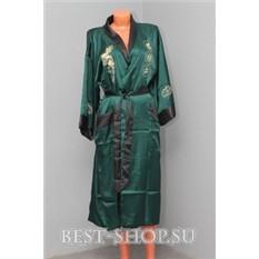 Темнозеленый китайский халат с вышивкой Дракон