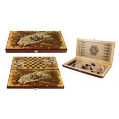 Настольная игра Леопард: нарды, шашки , размер 60х30см