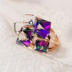 Кольцо с фиолетовыми кристаллами Сваровски Миражи