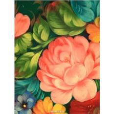 Поднос с росписью Букет цветов на зеленом фоне (Жостово)