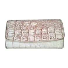 Женский кошелек из кожи крокодила белого цвета