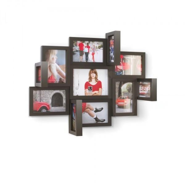Объемная мультирамка для 15 фотографий Perspective, черная