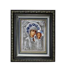 Икона Пресвятая Богородица Казанская (в киоте, с эмалями)