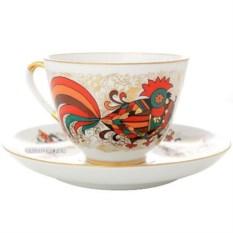 Чашка с блюдцем Красный петух (фарфор)