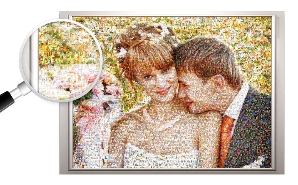 Фотомозаика на холсте на годовщину свадьбы, 40х60 см