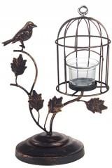Подсвечник для свечи-таблетки Клетка и птица