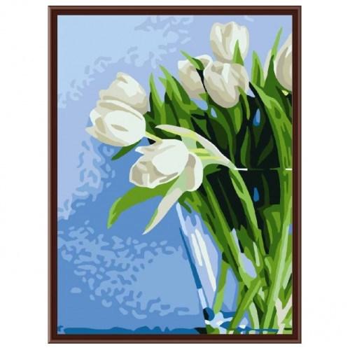 Картина-раскраска по номерам на холсте Тюльпаны