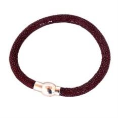 Бордовый женский браслет из кожи полированного ската