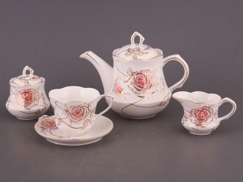 Чайный сервиз на 6 перс софия: красн. роза 15 пр