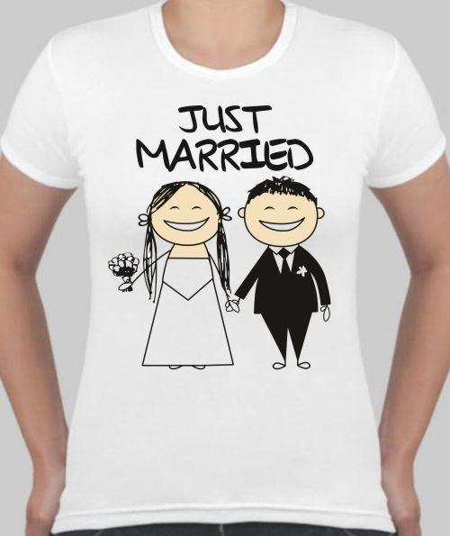 Женская футболка Just married, жених и невеста