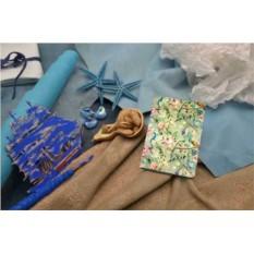Кожаный кардхолдер Винтажный цветочный паттерн
