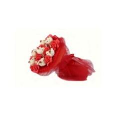 Букет из мягких игрушек Медвежата и розы (цвет — красный)