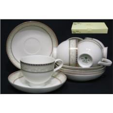 Чайный набор Элегант из 12 предметов (костяной фарфор)