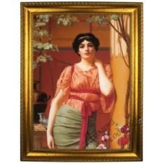 Портрет по фото на холсте В платье с красным поясом