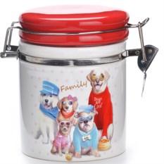 Красная банка для сыпучих продуктов Собачки