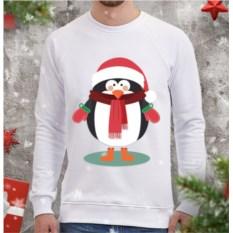 Белый мужской свитшот Пингвин в шарфе