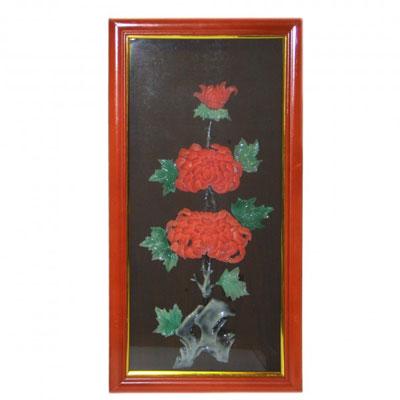 Картина из нефрита «Хризантема»