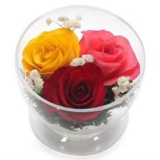 Композиция из роз в подарочной упаковке