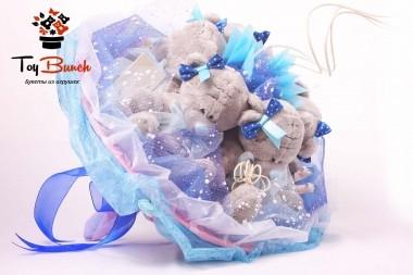 Букет из мягких игрушек (синий, пять серых мишек)