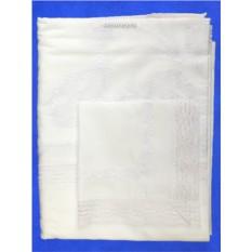 Белый комплект столового белья Вологодским кружево