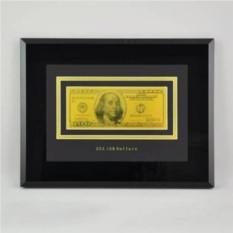 Картина с банкнотой 100$ США в раме, закаленное стекло