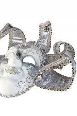 Карнавальный сувенир Маска Шут, бело-серебристая