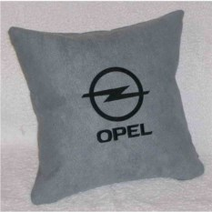 Серая с черной вышивкой подушка Opel