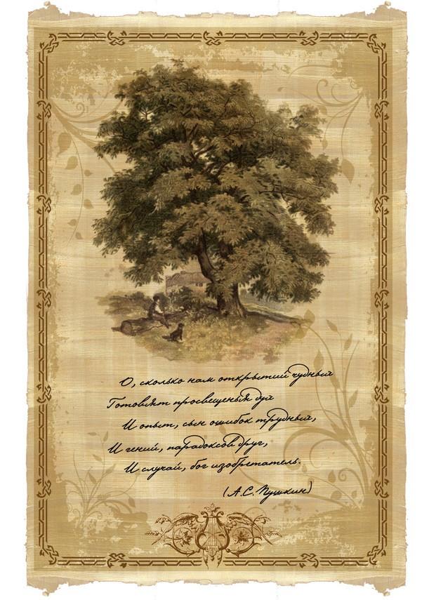 Свиток пергамента Знаменитые стихи Пушкина