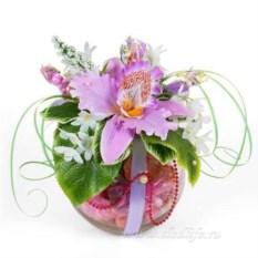 Букет из конфет с орхидеей Сюрприз