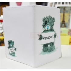 Кожаная обложка на паспорт Мишка с табличкой passport