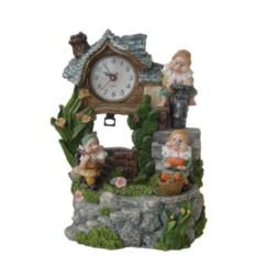 Фонтан с помпой Плоский домик, часы с маятником