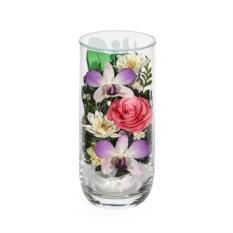 Композиция из роз и орхидей в вазе