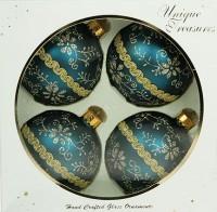 Набор ёлочных игрушек, шарики с узором синие, 8 см