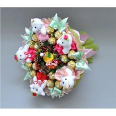 Букет из конфет и мягких игрушек Новогодний