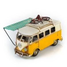 Модель жетого ретро-автобуса с фоторамкой