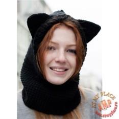 Вязаный снуд с капюшоном Кот