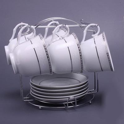 Чайный набор на 6 персон 12 пр. на металл.подст.