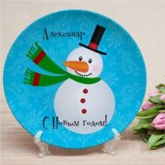Именная тарелка Снеговик