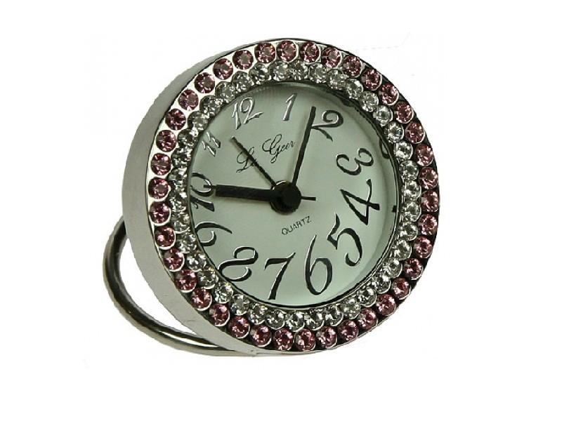 Круглые настольные часы с розовыми стразами