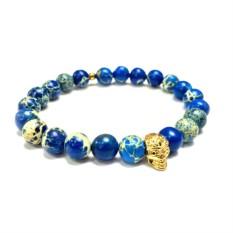 Мужской браслет из синего варисцита с черепом