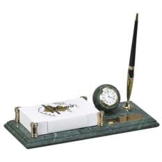Мраморный настольный набор из часов, блок-листов, ручки