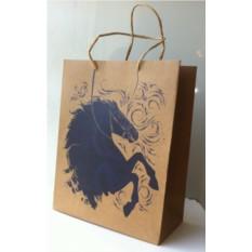 Пакет подарочный из крафт бумаги Синяя лошадь