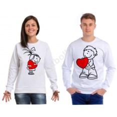 Парные толстовки Мальчик и девочка с сердечками