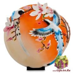 Декоративная керамическая тарелка Синие птицы в магнолии