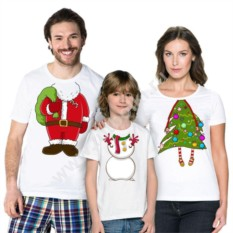 Футболки для всей семьи Санта Клаус, Снеговик и Елочка